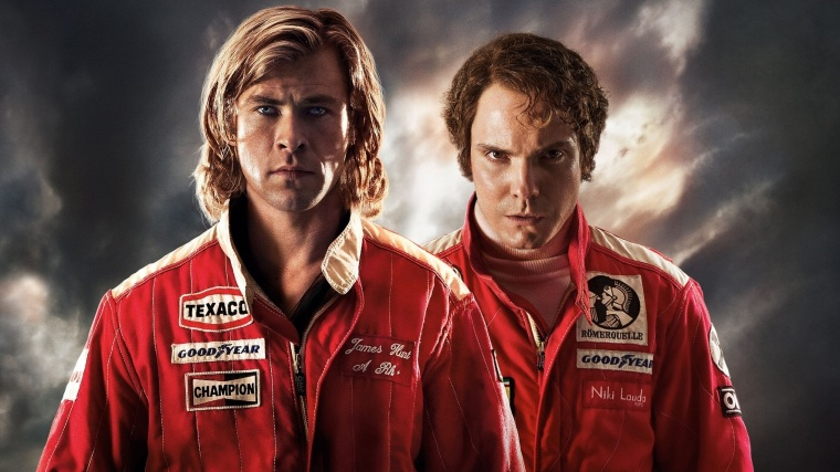 Nice glowering lads. Hemsworth and Brühl go head to head in Rush (2013).