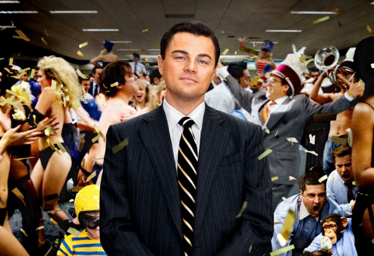 Leo looking unfazed by his working environment in The Wolf of Wall Street.