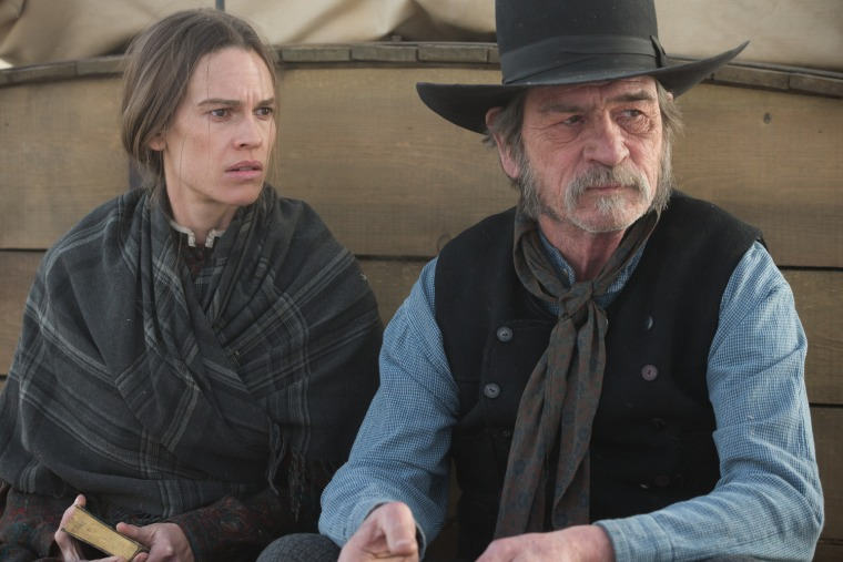 Hilary Swank and Tommy Lee Jones in The Homesman