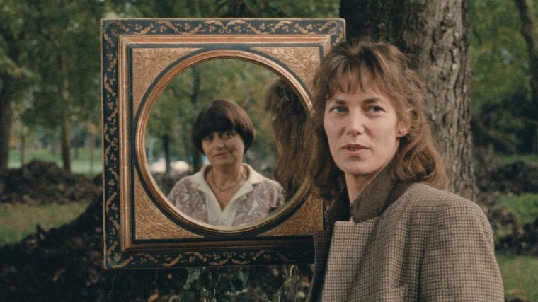 Jane Birkin with Agnes Varda reflected in a mirror