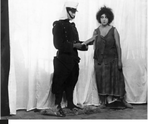A lady is accosted by a military officer